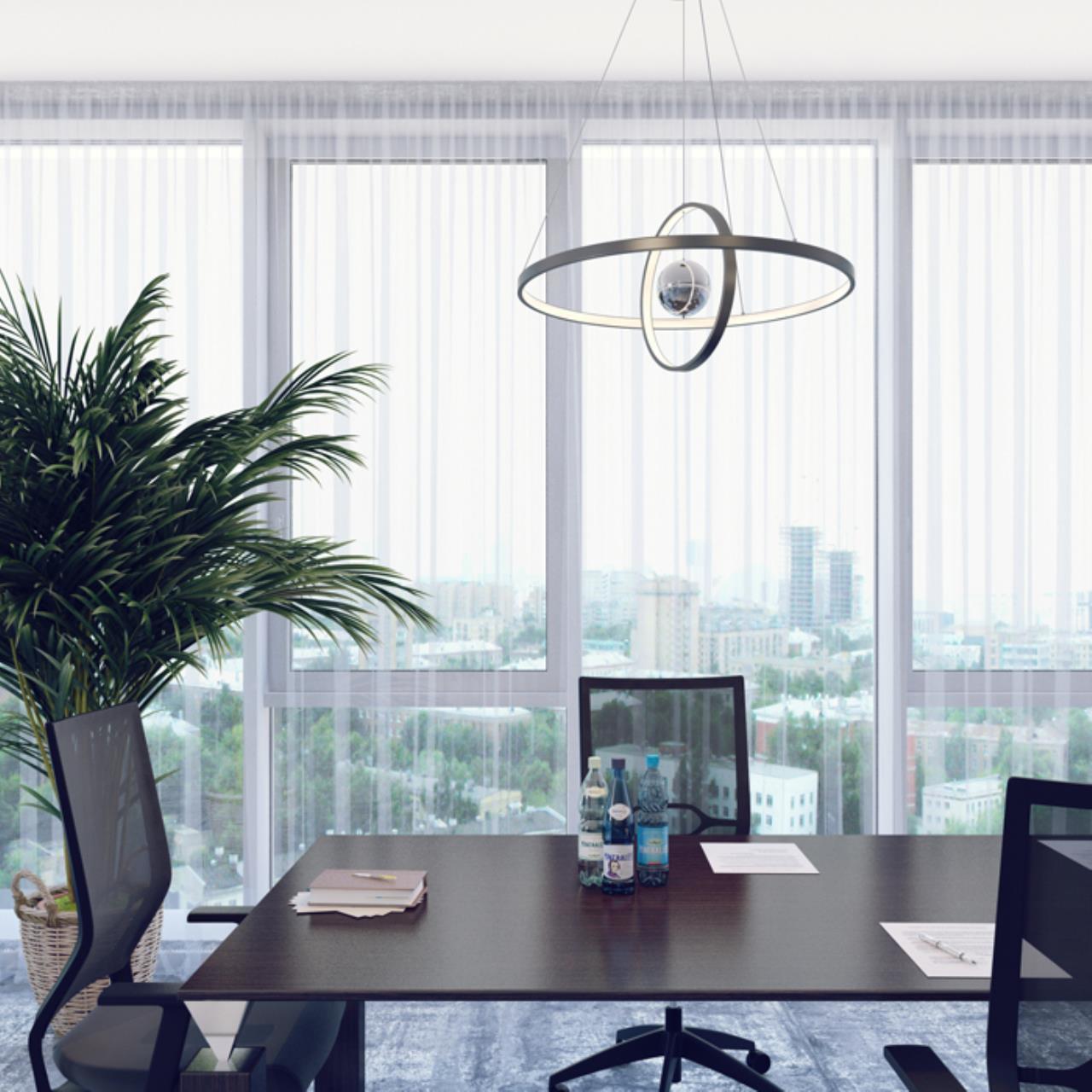 Подвесной светодиодный светильник Odeon Light L-Vision Lond 4031/40L, LED 40W 3000K 3600lm, темно-серый, хром, металл, пластик, стекло - фото 3