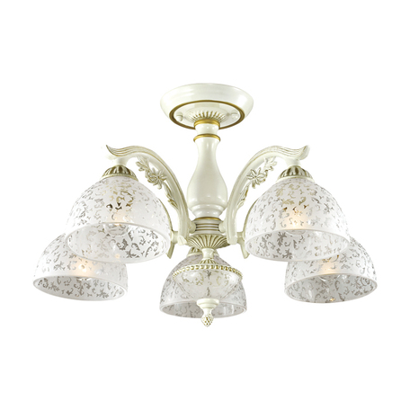 Потолочная люстра Lumion Classi Sligo 2947/5C, 5xE27x60W, бежевый с золотой патиной, белый, металл, стекло