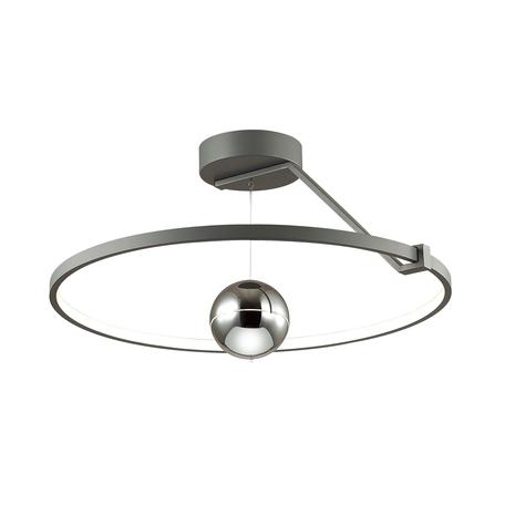 Потолочный светодиодный светильник Odeon Light L-Vision Lond 4032/40CL, LED 40W 3000K 3600lm, темно-серый, хром, металл, пластик, стекло
