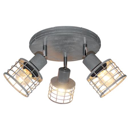Потолочная люстра с регулировкой направления света Lussole Loft Greeley LSP-9969, IP21, 3xE27x60W, серый, металл