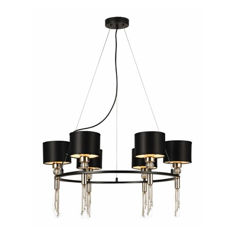 Светильник Favourite F-Promo Ringed 2847-6P, 6xE27x40W, металл со стеклом, текстиль, металл с хрусталем, хрусталь с металлом