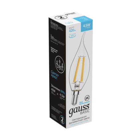 Филаментная светодиодная лампа Gauss 1041125