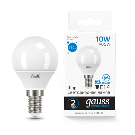 Светодиодная лампа Gauss 53230 E27 10W, 6500K (холодный)