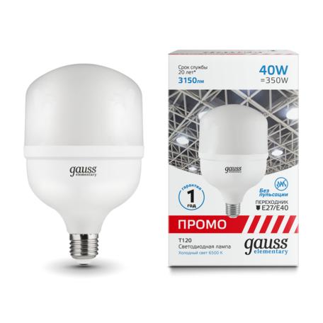 Светодиодная лампа Gauss 60434 E27 40W, 6500K (холодный)