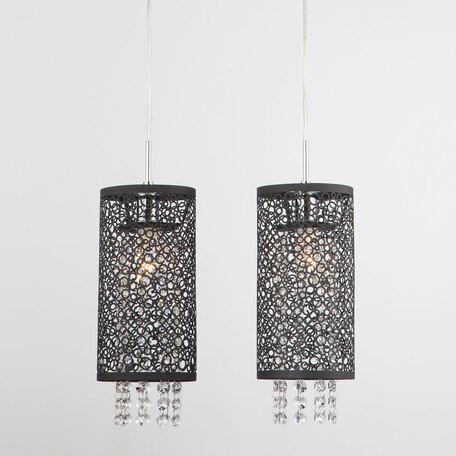 Подвесной светильник Eurosvet Laguna 1180/2 хром, 2xE14x60W, хром, черный, прозрачный, металл, хрусталь