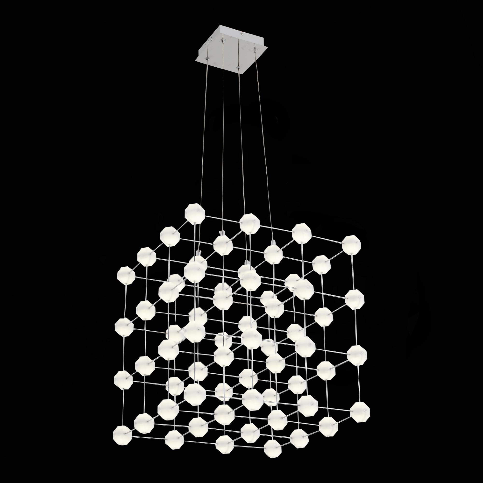 Подвесная светодиодная люстра ST Luce Atomo SL797.103.64 4000K (дневной), хром, белый, металл, пластик - фото 2