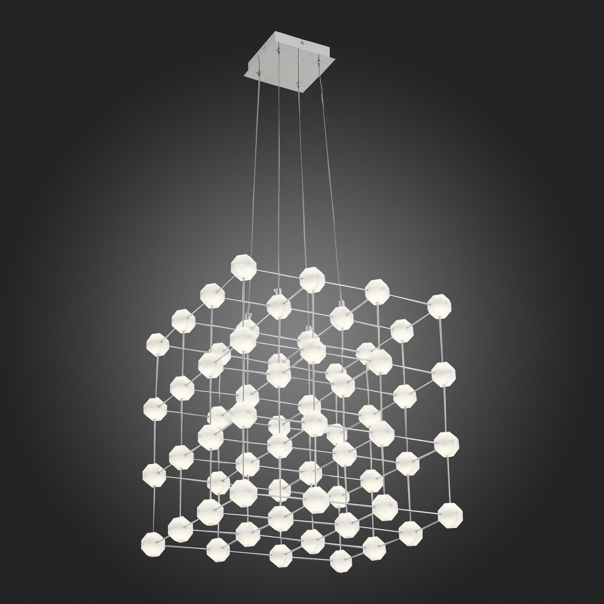 Подвесная светодиодная люстра ST Luce Atomo SL797.103.64 4000K (дневной), хром, белый, металл, пластик - фото 3
