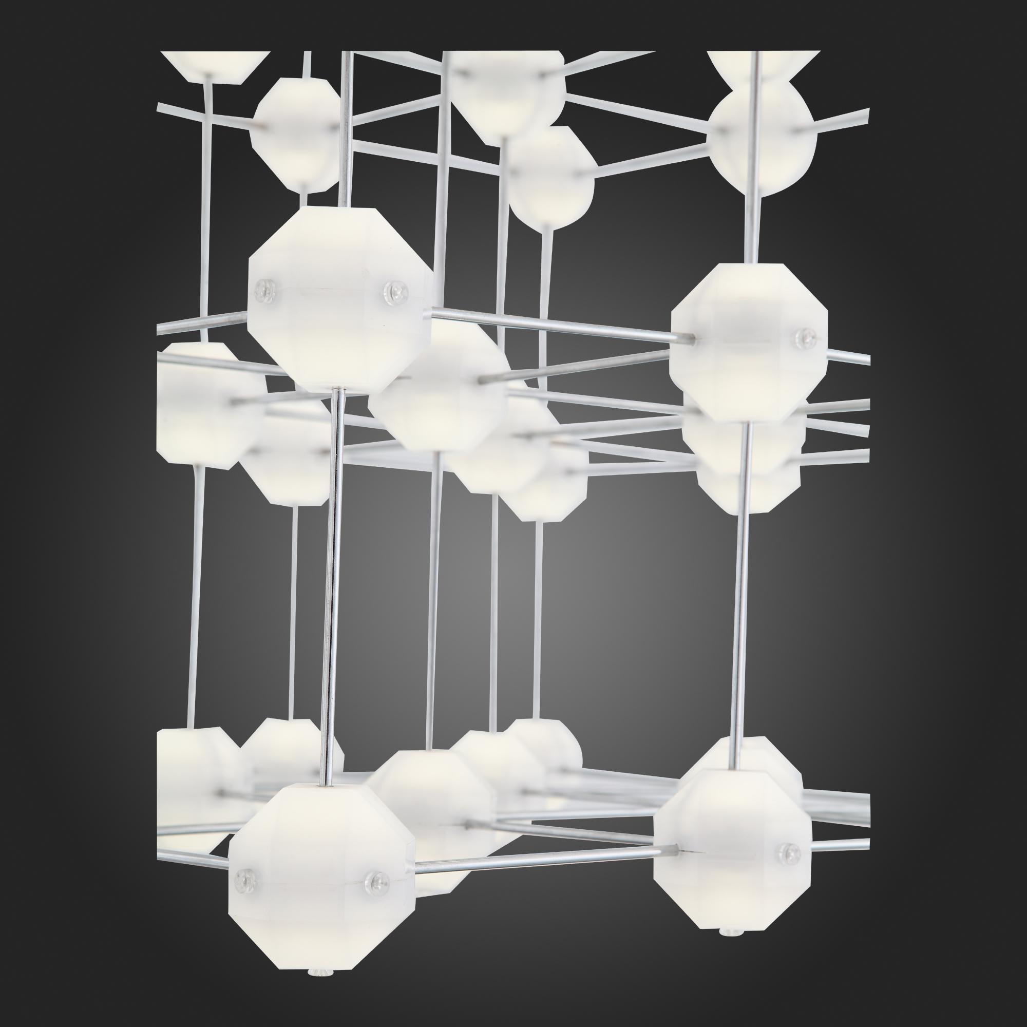 Подвесная светодиодная люстра ST Luce Atomo SL797.103.64 4000K (дневной), хром, белый, металл, пластик - фото 5