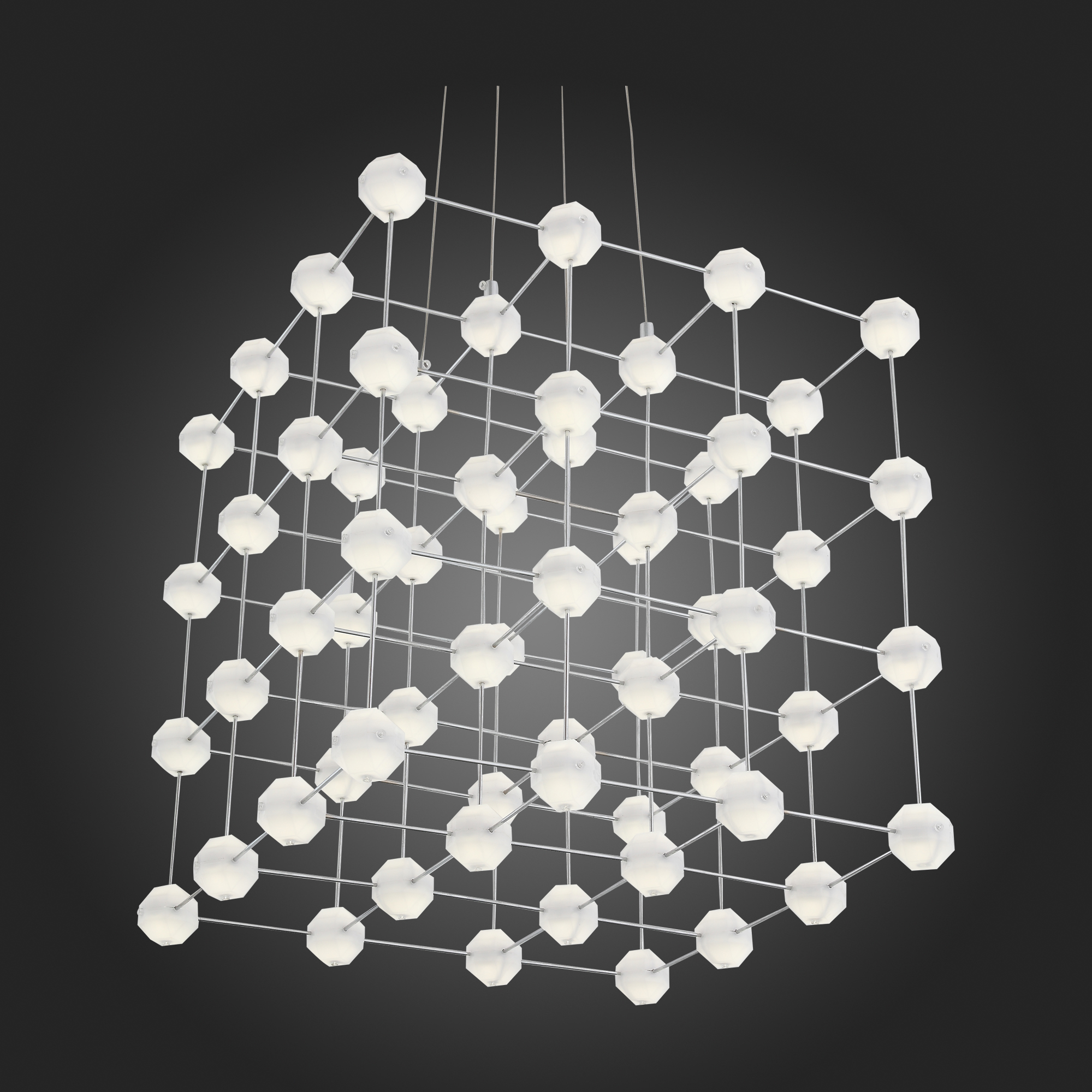 Подвесная светодиодная люстра ST Luce Atomo SL797.103.64 4000K (дневной), хром, белый, металл, пластик - фото 8