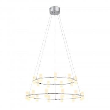 Подвесная светодиодная люстра ST Luce Cilindro SL799.103.21, LED 84W 3200K, хром, белый, металл, пластик