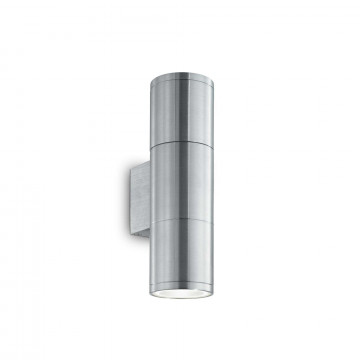 Настенный светильник Ideal Lux GUN AP2 SMALL ALLUMINIO 033013, IP44, 2xGU10x35W, алюминий, металл, стекло