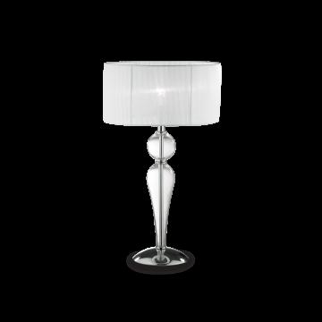 Настольная лампа Ideal Lux DUCHESSA TL1 BIG 044491, 1xE27x60W, прозрачный, белый, стекло, текстиль