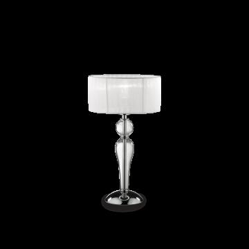 Настольная лампа Ideal Lux DUCHESSA TL1 SMALL 051406, 1xE27x60W, прозрачный, белый, стекло, текстиль