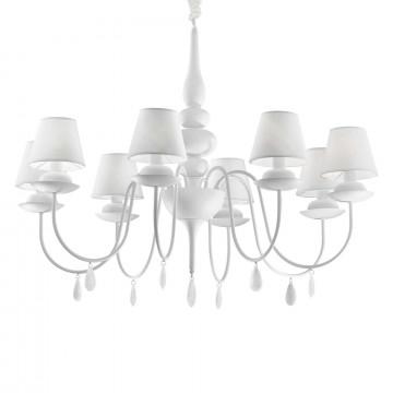 Подвесная люстра Ideal Lux BLANCHE SP8 BIANCO 035574, 8xE14x40W, белый, металл, текстиль, стекло