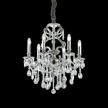 Подвесная люстра Ideal Lux GIOCONDA SP6 ARGENTO 044927, 6xE14x40W, серебро, прозрачный, металл, стекло
