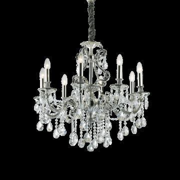 Подвесная люстра Ideal Lux GIOCONDA SP8 ARGENTO 044934, 8xE14x40W, серебро, прозрачный, металл, стекло