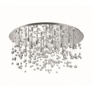 Люстра-каскад Ideal Lux NEVE PL15 CROMO 030784, 15xG9x40W, хром, прозрачный, металл, стекло