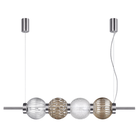 Подвесной светильник Odeon Light Modern Francesca 4273/4, 4xE14x40W, никель, дымчатый, янтарь, металл, стекло