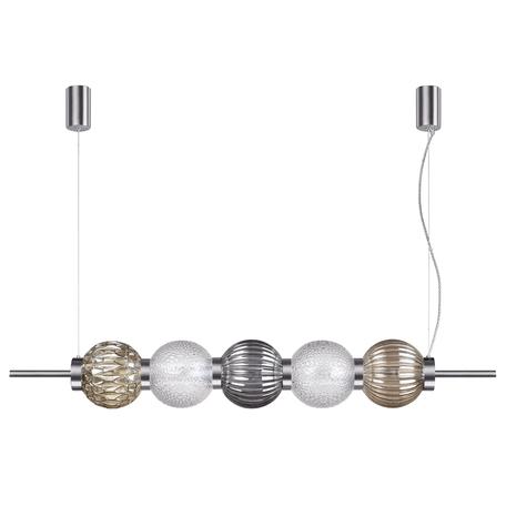 Подвесной светильник Odeon Light Modern Francesca 4273/5, 5xE14x40W, никель, дымчатый, янтарь, металл, стекло