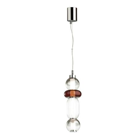 Подвесной светодиодный светильник Odeon Light Pendant Beans 4826/18L, LED 18W 4000K 940lm, хром, бордовый, дымчатый, металл, стекло