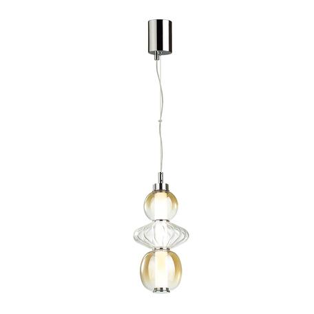 Подвесной светодиодный светильник Odeon Light Pendant Monra 4866/8L, LED 8W 4000K 560lm, хром, янтарь, металл, стекло