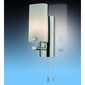 Настенный светильник Odeon Light Batto 2148/1W, IP44, 1xG9x40W, хром, белый, металл, стекло