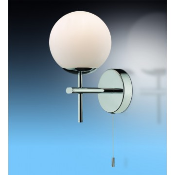 Настенный светильник Odeon Light Batto 2157/1W, IP44, 1xG9x40W, хром, белый, металл, стекло
