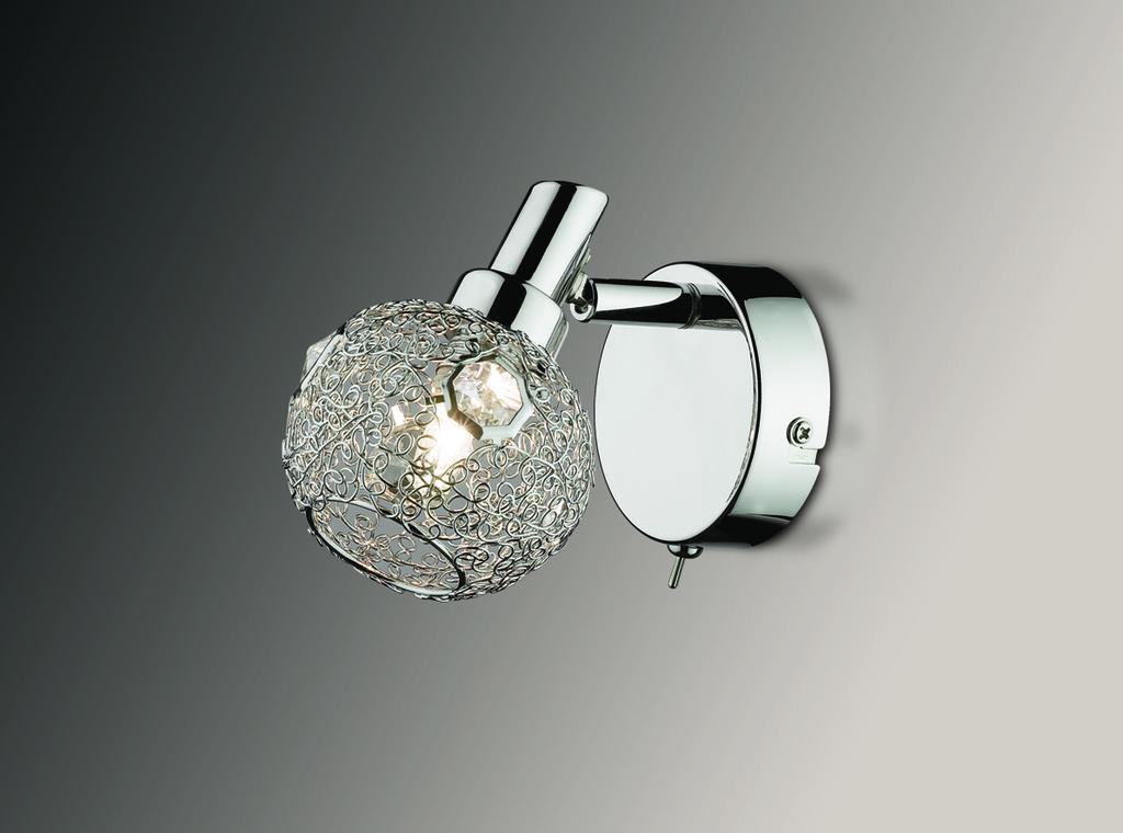 Настенный светильник с регулировкой направления света Odeon Light Bisco 2209/1W, 1xG9x40W, хром, прозрачный, металл, хрусталь - фото 1