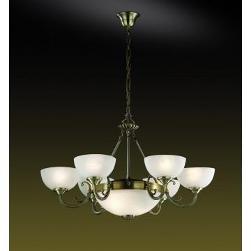 Подвесная люстра Odeon Light Alicante 1989/8, 6xE14x40W +  2xE27x60W, бронза, белый, металл, стекло