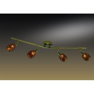 Потолочный светильник с регулировкой направления света Odeon Light Glosse 2167/4W, 4xG9x40W, бронза, черный, янтарь, металл, стекло