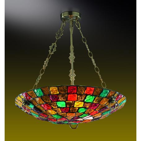 Подвесная люстра Odeon Light Country Velute 2094/5C, 5xE27x60W, коричневый с золотой патиной, разноцветный, металл, стекло