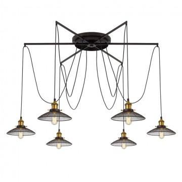 Люстра-паук Citilux Эдисон CL451261, 6xE27x75W, бронза, венге, металл - миниатюра 16