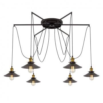 Люстра-паук Citilux Эдисон CL451261, 6xE27x75W, бронза, венге, металл - миниатюра 5