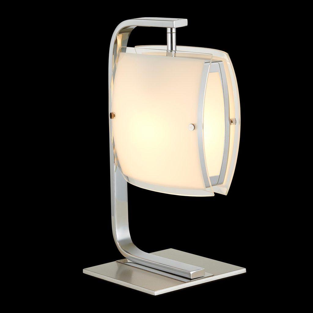 Настольная лампа Citilux Берген CL161811, 1xE27x75W, хром, белый, металл, стекло - фото 2