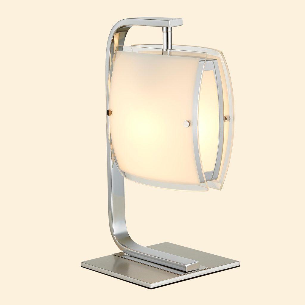 Настольная лампа Citilux Берген CL161811, 1xE27x75W, хром, белый, металл, стекло - фото 3
