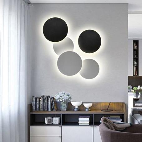 Настенный светодиодный светильник Kink Light Затмение 2203,19, LED 24W 4000K 1680lm CRI>80, черный, металл - миниатюра 2