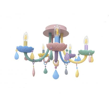 Потолочная люстра Kink Light Астрид 074175-5, 5xE14x40W, разноцветный, стекло
