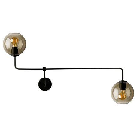 Бра Nowodvorski Monaco 9362, 2xE27x60W, черный, дымчатый, металл, стекло