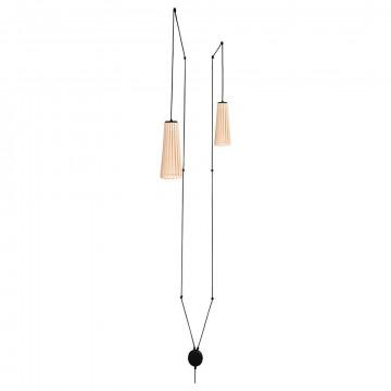 Подвесной светильник Nowodvorski Dover 9257, 2xGU10x35W, белый, коричневый, металл, дерево