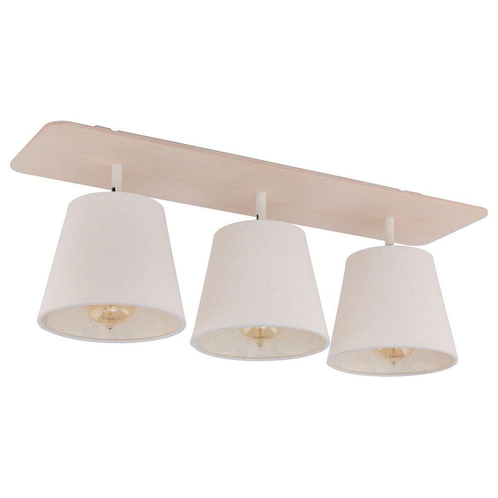 Потолочный светильник Nowodvorski Awinion 9281, 3xE27x60W, коричневый, белый, дерево, текстиль - фото 1