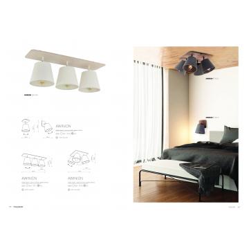 Потолочный светильник с регулировкой направления света Nowodvorski Awinion 9281, 3xE27x60W, коричневый, белый, дерево, текстиль - миниатюра 2