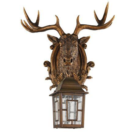 Настенный фонарь Favourite Hunt 2078-1W, IP44, 1xE27x60W, коричневый, прозрачный, гипс, металл, ковка, металл со стеклом