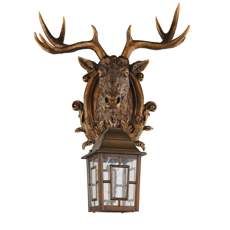 Настенный фонарь Favourite Hunt 2078-1W, IP44, 1xE27x60W, коричневый, прозрачный, гипс, металл, ковка, металл со стеклом - фото 1
