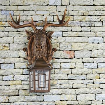 Настенный фонарь Favourite Hunt 2078-1W, IP44, 1xE27x60W, коричневый, прозрачный, гипс, металл, ковка, металл со стеклом - миниатюра 2
