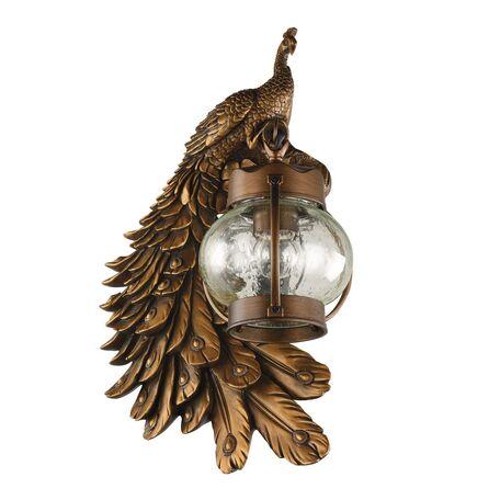 Настенный фонарь Favourite Hunt 2081-1W, IP44, 1xE27x60W, коричневый, прозрачный, гипс, металл, ковка, металл со стеклом