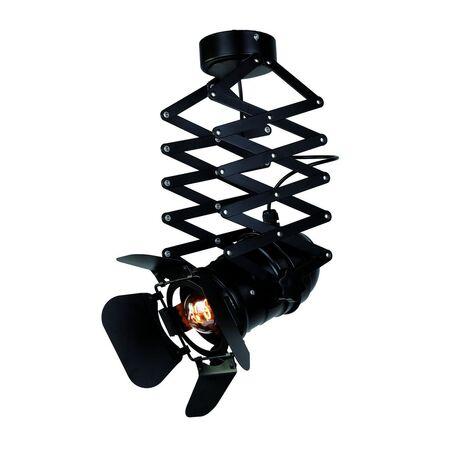 Потолочный светильник с регулировкой направления света на складной штанге Favourite Limelight 2069-1U, 1xE27x60W, черный, металл