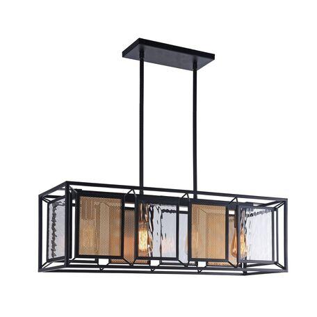 Потолочный светильник на составной штанге Favourite Dual 2083-4P, 4xE27x60W, черный, матовое золото, прозрачный, металл, стекло