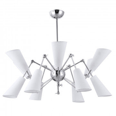 Люстра на телескопической штанге Divinare Sterzo 9988/02 LM-12, 12xE14x20W, хром, белый, металл, текстиль
