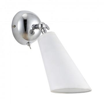 Настенный светильник с регулировкой направления света Divinare Sterzo 9988/02 AP-1, 1xE14x20W, хром, белый, металл, текстиль
