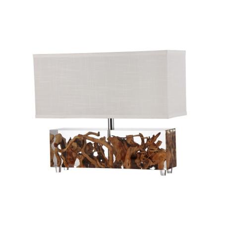 Настольная лампа Divinare Selva 3401/09 TL-1, 1xE27x60W, коричневый, белый, пластик, дерево, текстиль